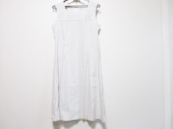 HANAE MORI(ハナエモリ) ワンピース サイズ38 M レディース美品  白×黒 ストライプ