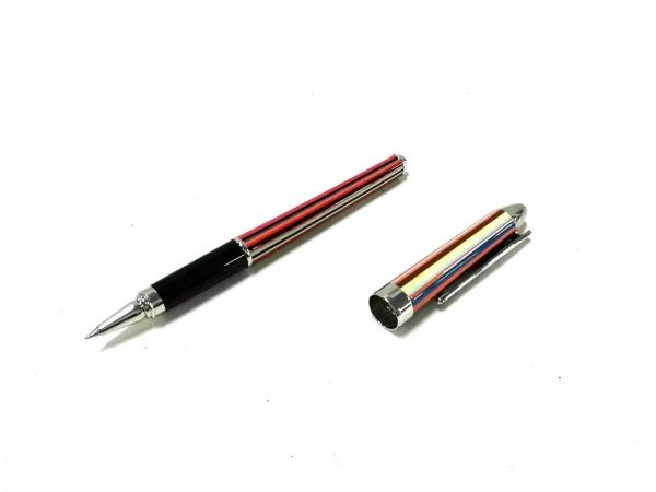 ポールスミス ボールペン新品同様  シルバー×マルチ インクあり(黒)/ストライプ