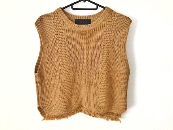 トゥデイフル ノースリーブセーター サイズF レディース美品  ライトブラウン