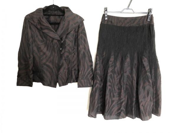 HIROKO KOSHINO(ヒロココシノ) スカートスーツ レディース美品  黒×ダークブラウン