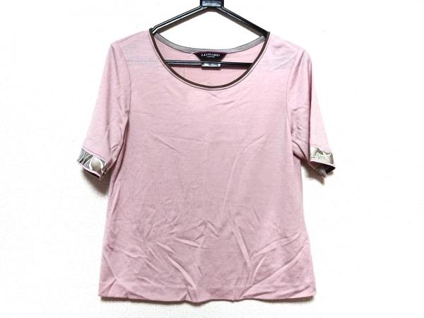 レオナール 半袖カットソー サイズ40 M レディース美品  ピンク×グレー FASHION