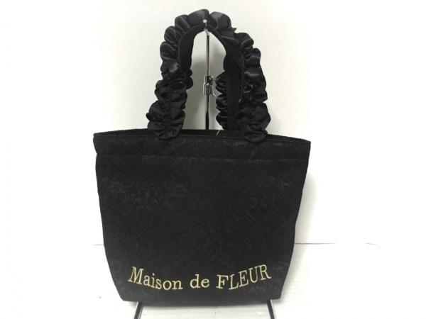 Maison de FLEUR(メゾンドフルール) トートバッグ美品  黒 化学繊維×シルク