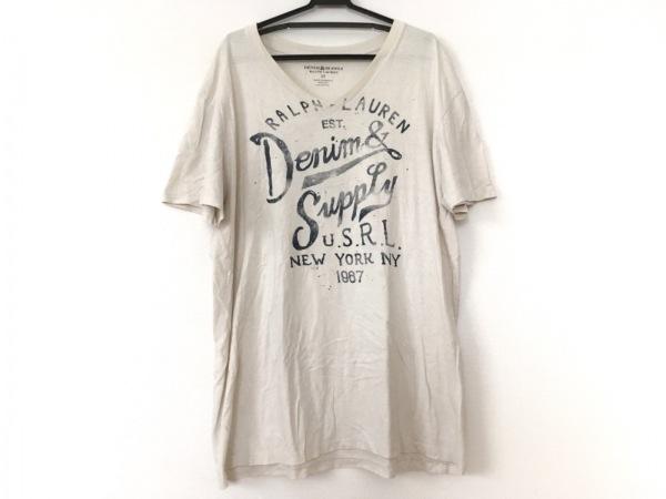 ラルフローレンデニム&サプライ 半袖Tシャツ サイズM メンズ アイボリー×ネイビー