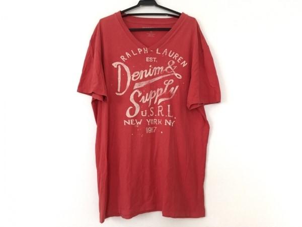 ラルフローレンデニム&サプライ 半袖Tシャツ サイズM メンズ レッド×アイボリー