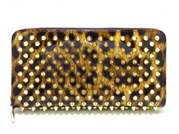 クリスチャンルブタン 長財布 ゴールド×黒×ブラウン エナメル(レザー)×金属素材