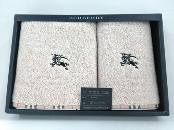 Burberry LONDON(バーバリーロンドン) 小物新品同様  ベージュ×黒×レッド コットン