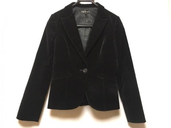 INDIVI(インディビ) ジャケット サイズ38 M レディース 黒 ベロア