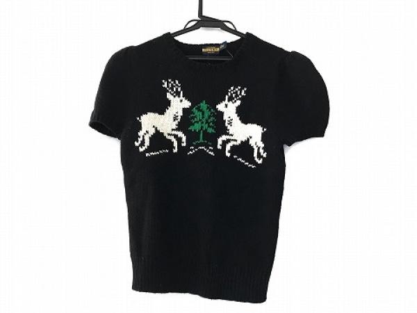ラルフローレンラグビー 半袖セーター サイズL レディース美品  黒×白×グリーン