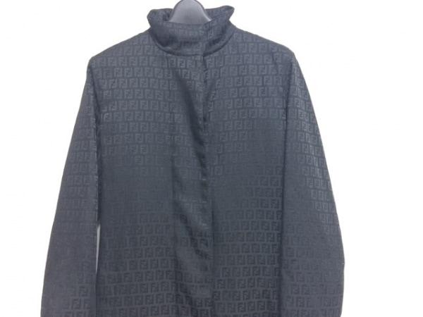 FENDI(フェンディ) コート サイズ38 S レディース ズッキーノ柄 黒 冬物