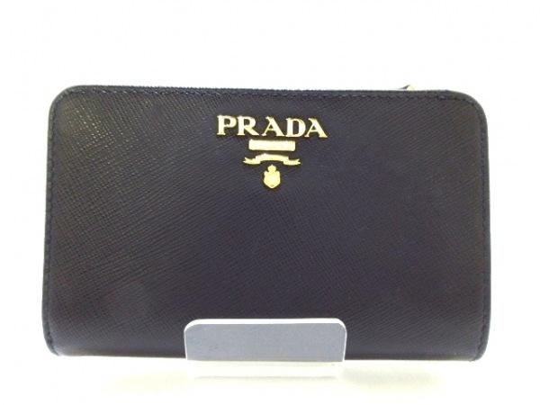 PRADA(プラダ) 2つ折り財布美品  - 1ML225 黒 レザー