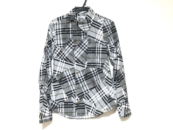 ヴィヴィアンウエストウッドマン 長袖シャツ サイズ44 L メンズ美品  白×黒×マルチ