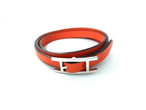 HERMES(エルメス) ブレスレット美品  アピ3 レザー×金属素材 オレンジ×シルバー