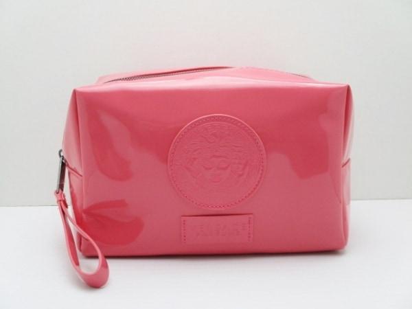 VERSACE(ヴェルサーチ) ポーチ美品  ピンク PARFUMS PVC(塩化ビニール)