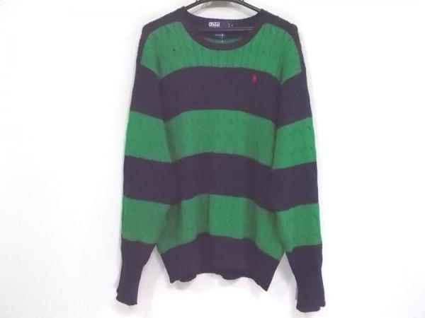 ポロラルフローレン 長袖セーター サイズS メンズ ネイビー×グリーン ボーダー
