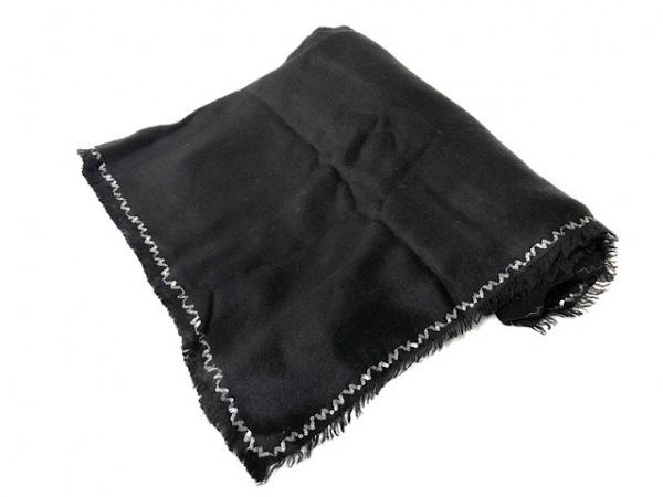 バジュラ ストール(ショール)美品  黒×シルバー スパンコール カシミヤ×シルク