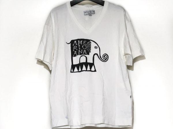 AMERICANA(アメリカーナ) 半袖Tシャツ レディース 白×黒