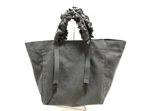 LUDLOW(ラドロー) トートバッグ 黒 フリル キャンバス×化学繊維