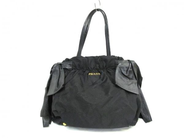 PRADA(プラダ) ハンドバッグ ロゴジャガード 黒 革タグ/サイドリボン