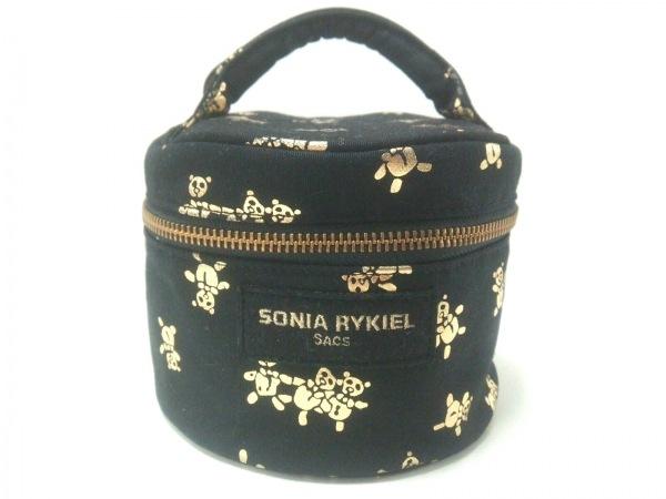 SONIARYKIEL(ソニアリキエル) バニティバッグ美品  黒×ゴールド クマ コットン