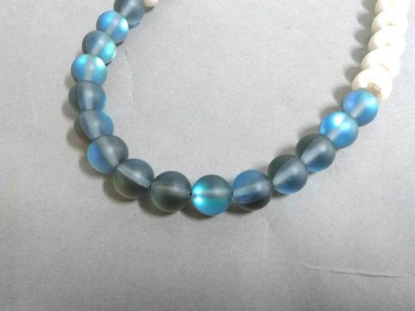 プティローブノアー ネックレス美品  コットンパール×ガラス アイボリー×ブルー