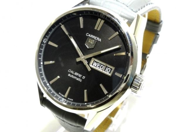 タグホイヤー 腕時計美品  カレラ キャリバー5 デイデイト WAR201A-1 メンズ 黒