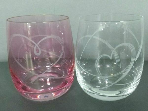 mikimoto(ミキモト) ペアグラス新品同様  クリア×ピンク COSMETICS ガラス