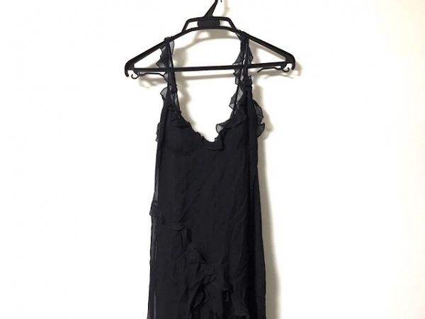 VALENTINO(バレンチノ) ドレス サイズ8 M レディース美品  黒 ロング丈/フリル/シルク