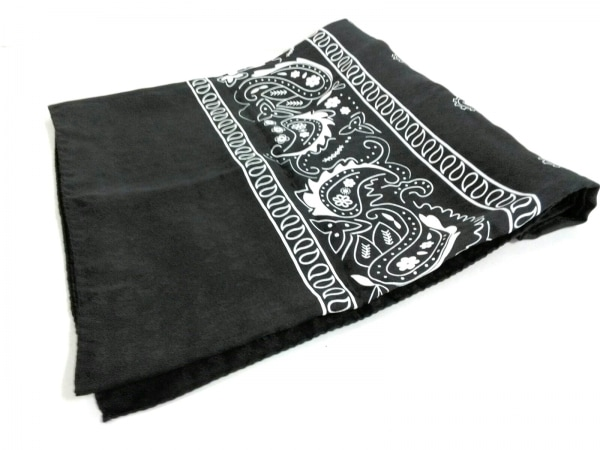 BALENCIAGA(バレンシアガ) スカーフ美品  黒×白 ペイズリー柄/大判