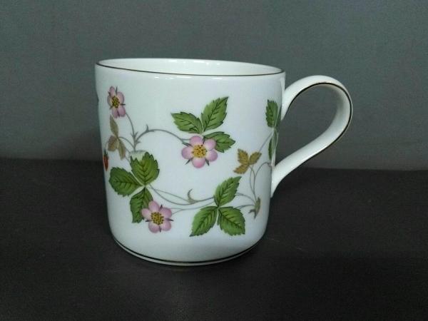 ウェッジウッド マグカップ新品同様  ワイルドストロベリー 白×グリーン×マルチ