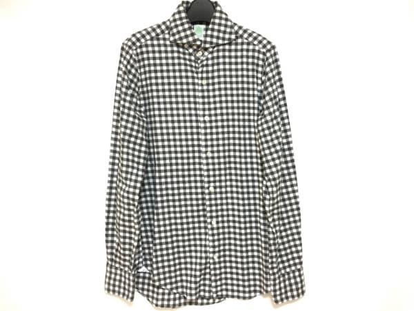 finamore(フィナモレ) 長袖シャツ メンズ 黒×グレー×アイボリー Napoli