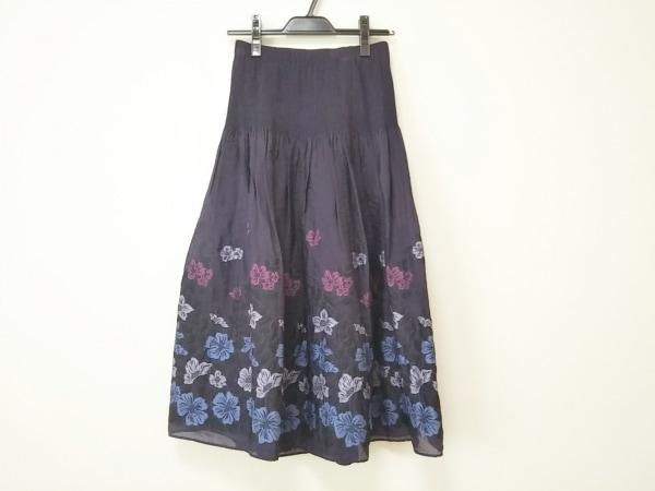 ヒロコビス ロングスカート サイズ9 M レディース新品同様  パープル×ピンク×マルチ
