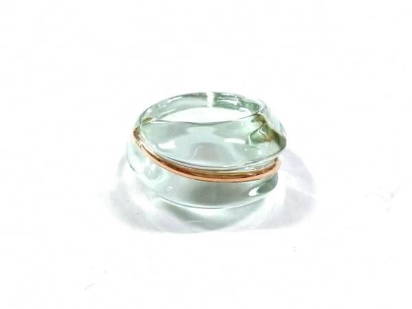 Baccarat(バカラ) リング美品  クリスタルガラス×金属素材 ライトグリーン×ゴールド