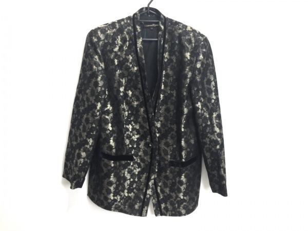 ROSSA(ロッサ) ジャケット サイズ42 L レディース 黒×ゴールド IMPORT ROSSA/花柄