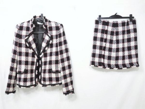 マンゴ スカートスーツ サイズS(USA) レディース 白×黒×レッド ツイード/チェック柄