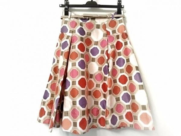 ケイトスペード スカート サイズ0 XS レディース美品  ベージュ×レッド×パープル