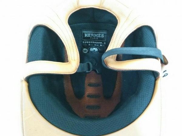 HERMES(エルメス) 帽子 58 黒×ブラウン 乗馬用ヘルメット/GPA 化学繊維×レザー