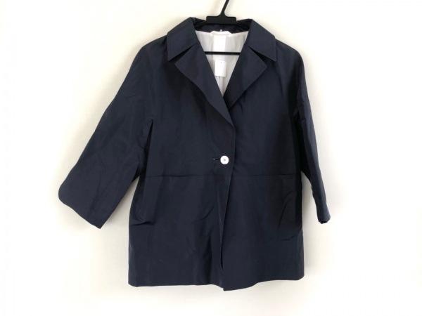 Kiton(キートン) コート サイズ42 L レディース美品  ネイビー シルク/春・秋物