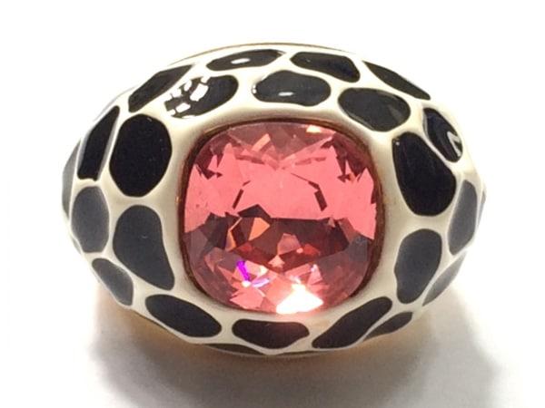 ケネスジェイレーン リング美品  金属素材×ラインストーン ゴールド×黒×ピンク