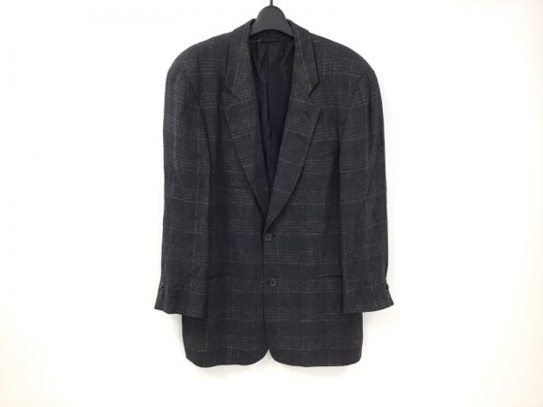 ジョルジオアルマーニ ジャケット メンズ ダークネイビー×白 チェック柄