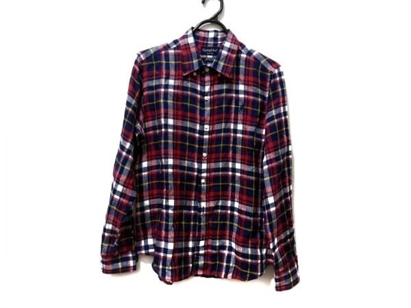 ジムフレックス 長袖シャツ サイズ14 メンズ新品同様  ネイビー×レッド×イエロー