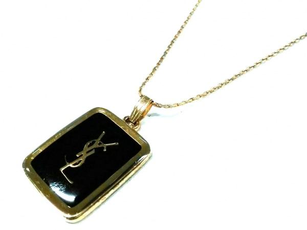 YvesSaintLaurent(イヴサンローラン) ネックレス美品  金属素材 黒×ゴールド