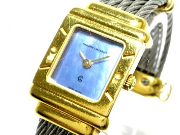 フィリップシャリオール 腕時計 サントロペスクエア 7007902 レディース シェルブルー