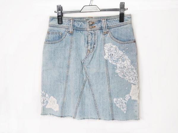 リュウゾウ ナカタ スカート サイズ40 M レディース美品  ライトブルー×白