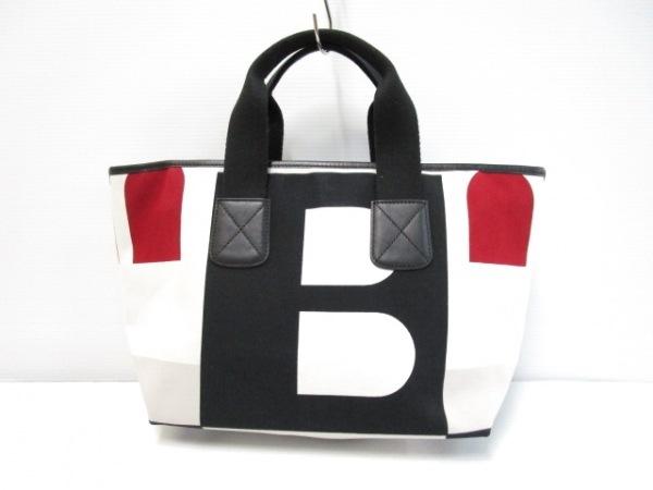 BALLY(バリー) トートバッグ 白×黒×マルチ キャンバス×レザー