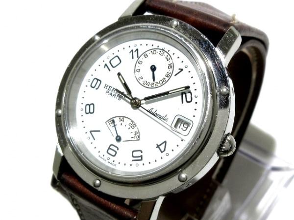エルメス 腕時計 クリッパー ドゥブルトゥール パワーリザーブ CL5.710 ボーイズ 白