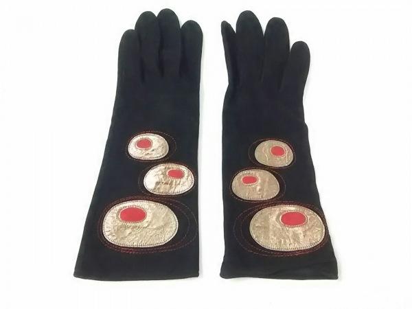 ケイタマルヤマ 手袋 レディース 黒×ゴールド×レッド スエード 2