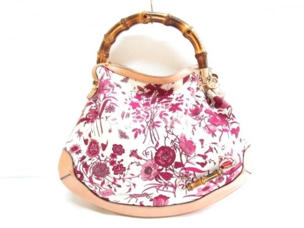 グッチ ハンドバッグ バンブー/フローラ 169961 ベージュ×ピンク×マルチ 花柄