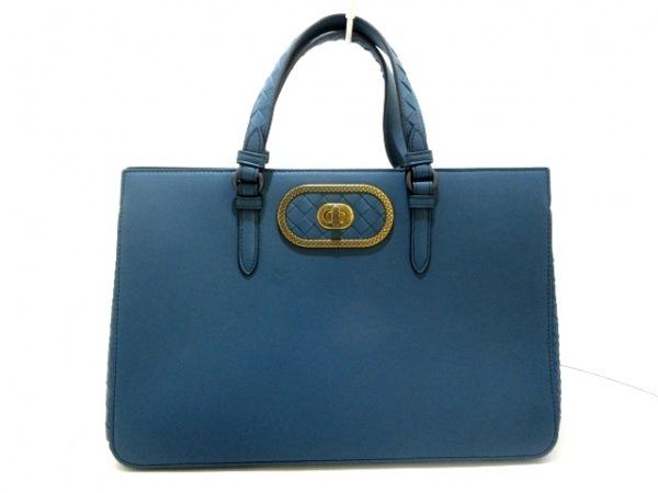 ボッテガヴェネタ ハンドバッグ美品  イントレチャート B076055580 ブルーグリーン