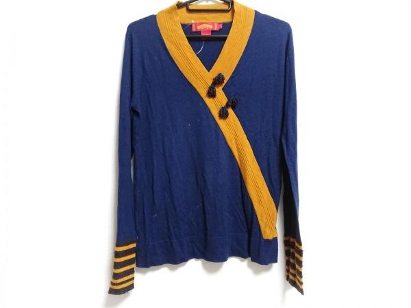 シャンハイタン 長袖セーター サイズL レディース ブルー×イエロー ビーズ