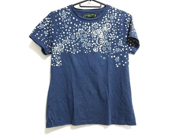 シャンハイタン 半袖Tシャツ サイズL レディース ネイビー スパンコール/ビーズ